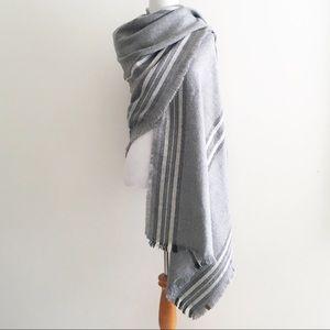 Roots Blanket Scarf Striped Gray Raw Edge Shawl